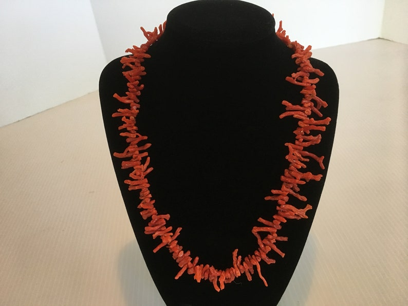 Vintage Red Coral Branch Necklace Mid-Century image 0