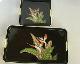 Japanese Lacquer Ware Nesting Trays Set of 2 Gold Trim Bird of Paradise design