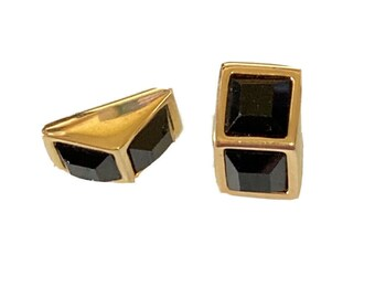 Vtg Signed Swarovski Earrings Black Crystal Cube Illusion Post SAL