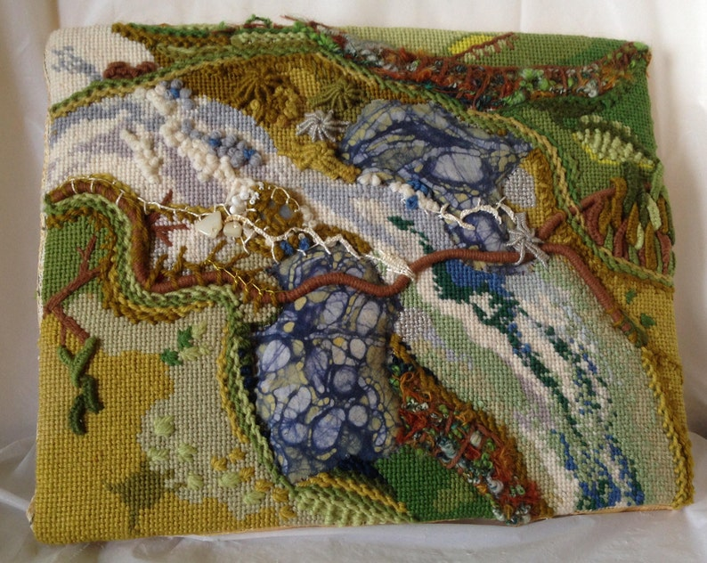 Mixed Media Art Green River Needlepoint OOAK Wall Hanging image 0