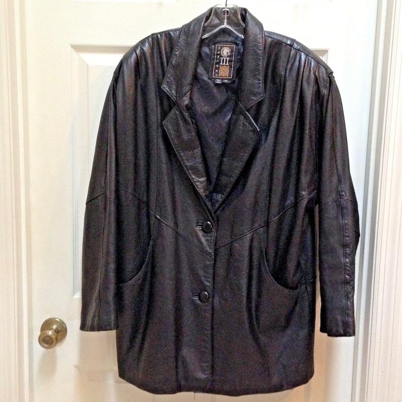 VTG 1980s G-III black Leather Long Jacket size Medium G3 image 0