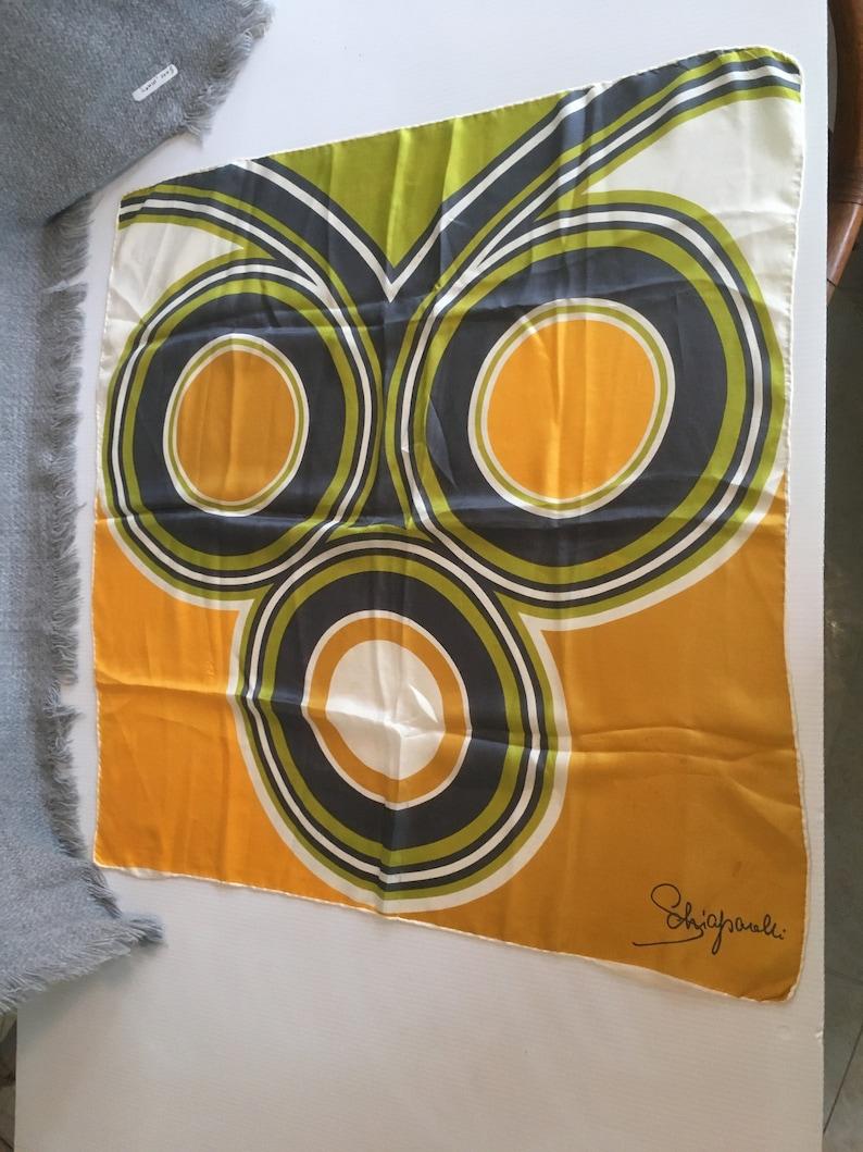 Vtg Schiaparelli Silk Scarf 28x26 signed MCM Owl Pop Art image 0