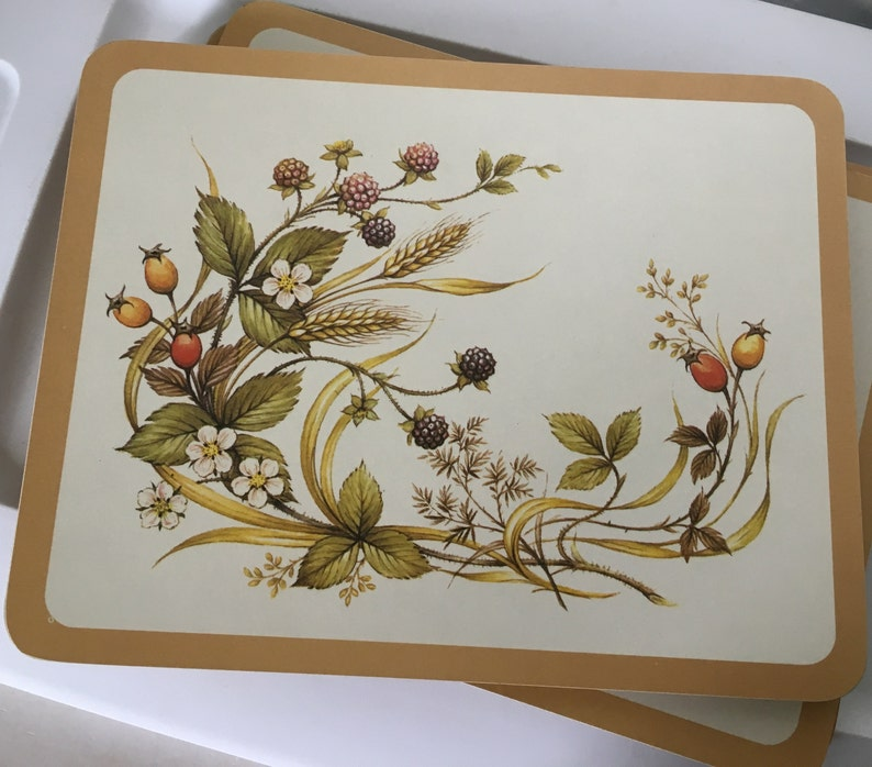Vtg. Marks and Spencer Harvest Small Placemats lot of 4 image 0