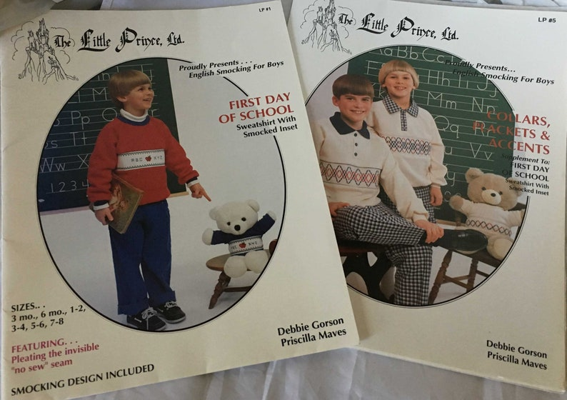 English Smocking sewing for Boys Little Prince Patterns 2 Sets image 0