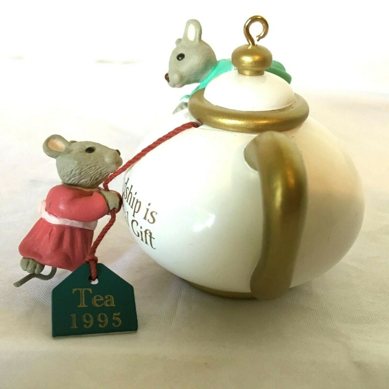 HALLMARK Two for Tea Pot Friendship 1995 Mouse Ornament image 0