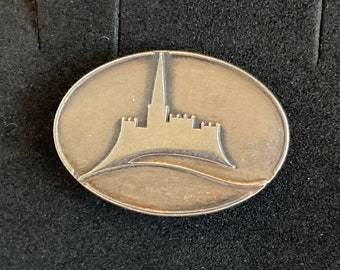 Castle Design Pin Brooch 925 Sterling Silver Vintage