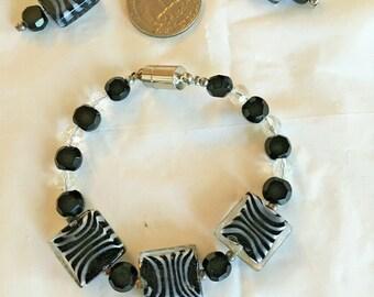 Zebra Stripe Art Glass Beaded Bracelet and Earring Set Hand Crafted