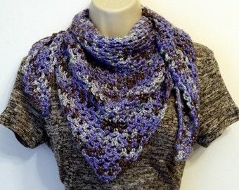 Crochet Triangle Scarf - Purple Crochet Triangle Scarf - Metallic Scarf - Purple Metallic Triangle Scarf - Triangle Wrap Scarf - Crochet