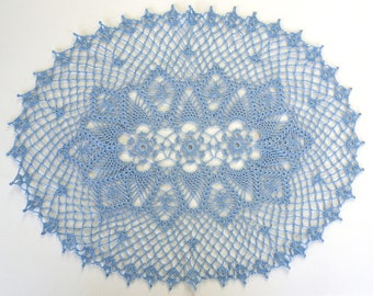 Blue Crochet Doily - Large Blue Crochet Doily - Blue Decorative Crochet Doily - Doily Table Runner - Doily Table Cloth - Blue Lace Doily