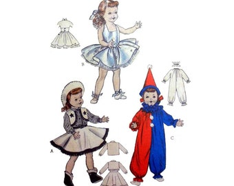 1950's Costume for 21 Inch Doll, Cowgirl, Ballerina, Clown Sewing Pattern, Vintage Butterick 6760 Rare and Hard to Find