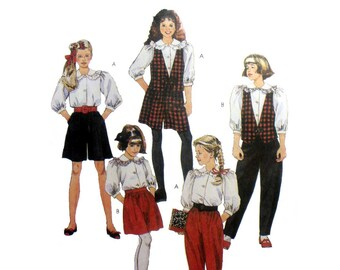 Girls Sewing Pattern, Culottes, Pants, Blouse and Vest, Non Stop Wardrobe for Kids, Child Size 7 Uncut McCall's 6115
