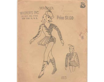 Girl's Dance Outfit, Costume Sewing Pattern Child Size 8 Very Rare, Vintage 1930's Wagner 1113