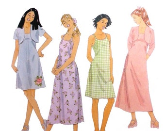 Teen Girls' Dress and Shrug Sewing Pattern, A-Line, Narrow Straps, Above Knee or Midi Length, Size 12, 14, 16 Uncut McCall's 2630