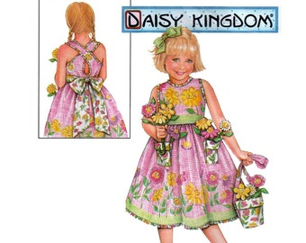 "Girl's Sleeveless Dress and Purse, Daisy Kingdom Sewing Pattern Child Size 5-6-7-8 Bust 24-25-26-27"" Uncut Simplicity 5132"