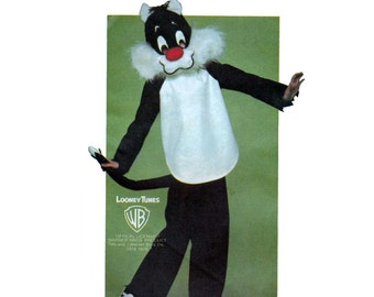 Boys Girls Sylvester Cat Costume Sewing Pattern, Looney Tunes Warner Bros, Child Size Small-Medium-Large Uncut Vintage 1970's Butterick 6349