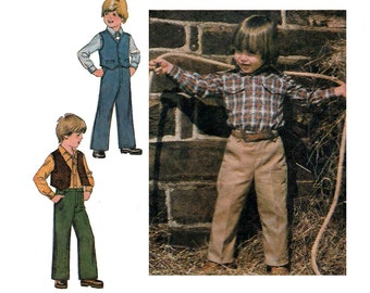 """Boy's Western Shirt, Pants and Lined Vest Sewing Pattern Child Size 5, Chest 24"""" Uncut Vintage 1970's Simplicity 9129"""