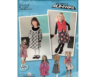 Girl's Dress or Jumper and Vest, Project Runway Sewing Pattern, Child Size 4-5-6-7-8 UNCUT Simplicity 2157