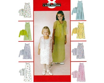 Girls' Sleeveless A-Line Dress in Two Lengths and Long or Short Sleeve Shirt-Jacket Sewing Pattern Size 10-12-14 Uncut McCall's P295
