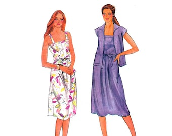 Sundress Sewing Pattern, Sleeveless Dress with Short Sleeve Unlined Jacket, Junior's Size 5 Bust 30 UNCUT Vintage 1980's Butterick 3755
