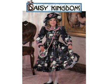 Daisy Kingdom Sewing Pattern, Girl's Dress with Full Skirt and Long Sleeves, Hat and Purse Size 7-8-10-12 UNCUT OOP Simplicity 9707