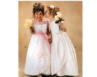 Girl's Formal, Flower Girl Dress Sewing Pattern, with Tulip Skirt by Alicyn Exclusives, Size 3-4-5-6 UNCUT McCall's 3941
