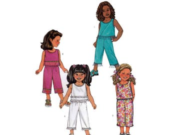 Girl's Sleeveless Top and Pull-on Cropped Capri Pants Sewing Pattern, Child Size 6-7-8 UNCUT Fast & Easy Butterick 3789