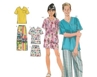 Girls' and Boys' Loungewear Sewing Pattern, Long or Short Pajama Pants, Pullover Top, Size 7-8-10-12-14-16 UNCUT Simplicity 4339