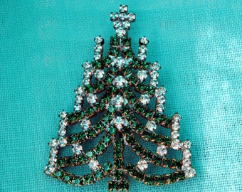 Vintage Christmas Brooch Czech Rhinestone Christmas tree brooch pin Crystal Christmas tree pins holiday jewelry Vintage Christmas Jewelry