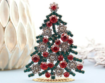 Rhinestone Christmas Tree, Vintage Christmas Tree - Vintage Rhinestones Jewelry Crystals Christmas Tree, Czech Rhinestone Tree, jeweled tree