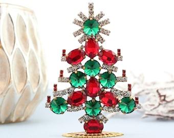Vintage Rhinestone Christmas Tree, Vintage Rhinestones jeweled Christmas Tree, Czech Rhinestone mini Tree vintage christmas decorations