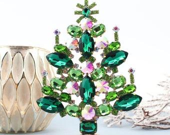 Vintage Rhinestone Table Top Christmas Tree, Vintage Rhinestones Jewelry Crystals Christmas Tree, Czech Rhinestone jeweled Ornament tree