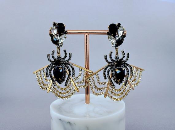 Vintage Crystal black white earrings Halloween jew