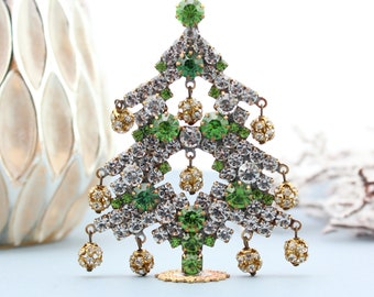 Vintage Crystal Christmas Tree, Vintage Rhinestone Tree, Czech Rhinestone Tree, Vintage Christmas Decorations Jeweled Tree gifts for friends