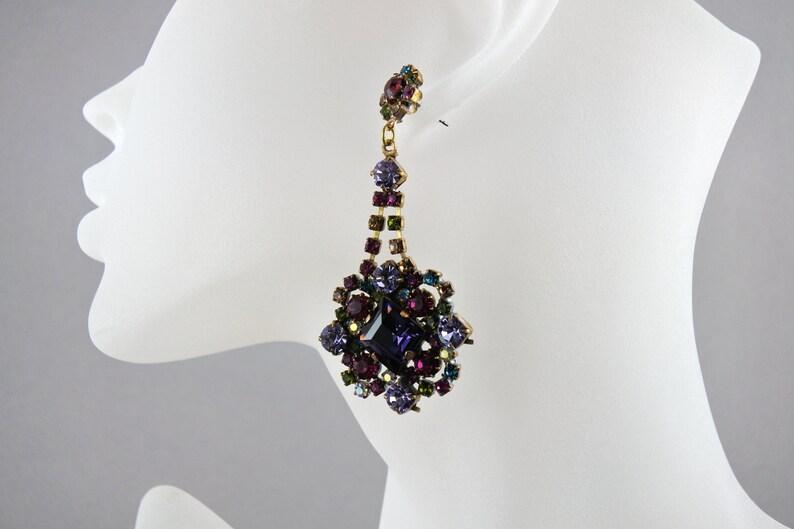 Vintage Crystal Bridal earrings Wedding jewelry Bridal jewelry Bridesmaid Gift earrings wedding dangle pierced long Earrings