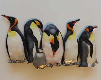 Enamel on Copper Emperor Penguins Wall Art, Ready to Hang Indoors or Outdoors