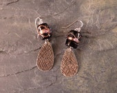 Hand Made Sterling Silver Earrings with Vintage Barrel Shape Black and Copper Czechoslovakian Lamp-Work Glass Bead