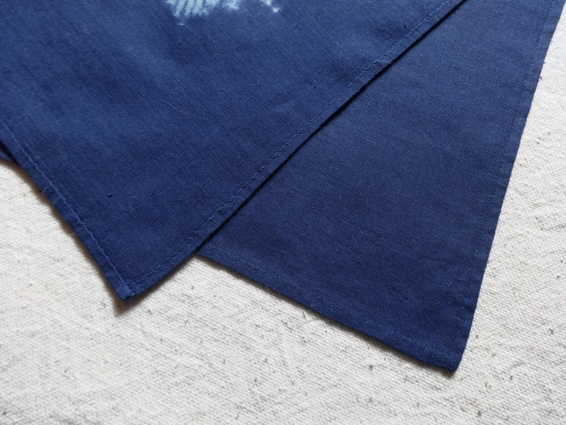 Hand dyed pocket square Handkerchief Shibori Tie dye cotton rag hankie Blue white Maple leaf Unisex men women