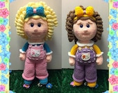 Gracie and Gabby crochet pattern, girl doll, curly hair, overalls (English PDF pattern only, this is not the finished doll)