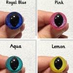 5 Pairs - GLITTER CAT Safety Eyes/15mm, 18mm, 21mm OR 25mm/Hand Painted Safety Eyes/Animal Eyes/Doll Eyes/Toy Eyes/Dragon Eyes/Frog Eyes