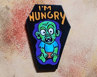 Wooden Fridge Magnet I m Hungry