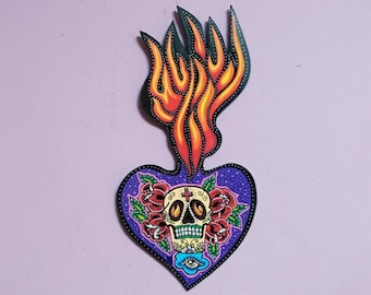 Wooden Sacred Heart Sugar Skull
