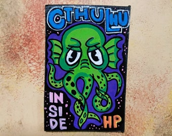Wooden Fridge Magnet Cthulhu