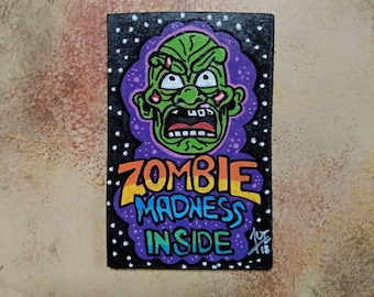 Wooden Fridge Magnet Zombie Madness