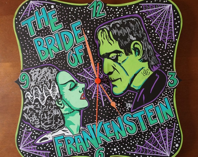Featured listing image: The Bride of Frankenstein Wall clock