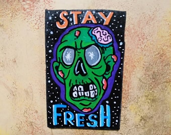 Wooden Fridge Magnet Zombie The Fresh