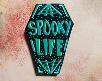 Wooden Fridge Magnet Spooky Life