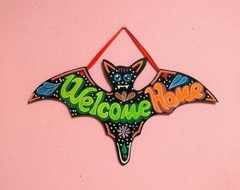 Welcome Home Flower Power wooden bat Signal