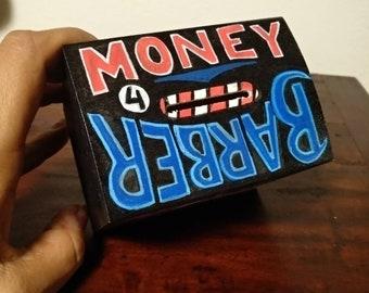 Money 4 Barber Wooden Money Box