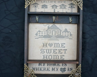 "Home Sweet Home ""Embroidery"" Key Rack"