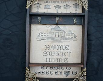 "Home Sweet Home ""Embroidery"" Key Rack"